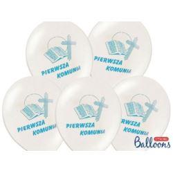 balony, balony na hel, dekoracje balonowe, balony Łódź, balony z nadrukiem, Balony 27 cm I Komunia Święta P.White 50 szt.