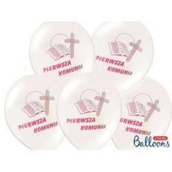 balony, balony na hel, dekoracje balonowe, balony Łódź, balony z nadrukiem, Balony 27 cm I KOmunia Święta, Pastel White 50szt.
