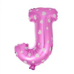 """Balon foliowy Litera """"J"""" - różowa w serduszka"""