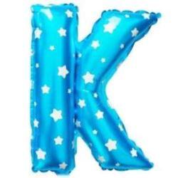"""Balon foliowy Litera """"K"""" - niebieska w gwiazdki"""