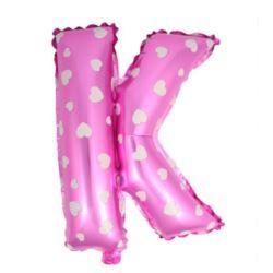"""Balon foliowy Litera """"K"""" - różowa w serduszka"""
