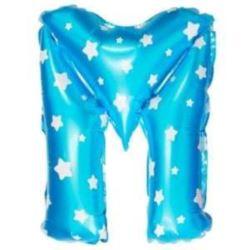 """balony, balony na hel, dekoracje balonowe, balony Łódź, balony z nadrukiem, Balon foliowy Litera """"M"""" - niebieska w gwiazdki"""