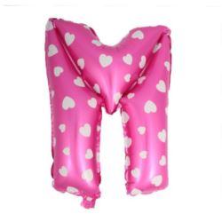 """balony, balony na hel, dekoracje balonowe, balony Łódź, balony z nadrukiem, Balon foliowy Litera """"M"""" - różowa w serduszka"""