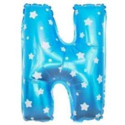 """balony, balony na hel, dekoracje balonowe, balony Łódź, balony z nadrukiem, Balon foliowy Litera """"N"""" - niebieska w gwiazdki"""