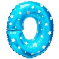 """balony, balony na hel, dekoracje balonowe, balony Łódź, balony z nadrukiem, Balon foliowy Litera """"O"""" - niebieska w gwiazdki"""