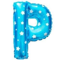 """balony, balony na hel, dekoracje balonowe, balony Łódź, balony z nadrukiem, Balon foliowy Litera """"P"""" - niebieska w gwiazdki"""