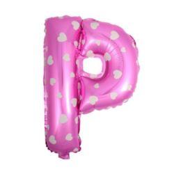 """balony, balony na hel, dekoracje balonowe, balony Łódź, balony z nadrukiem, Balon foliowy Litera """"P"""" - różowa w serduszka"""
