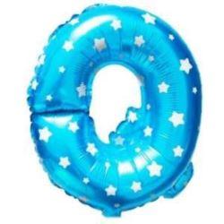 """balony, balony na hel, dekoracje balonowe, balony Łódź, balony z nadrukiem, Balon foliowy Litera """"Q"""" - niebieska w gwiazdki"""