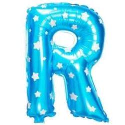 """balony, balony na hel, dekoracje balonowe, balony Łódź, balony z nadrukiem, Balon foliowy Litera """"R"""" - niebieska w gwiazdki"""