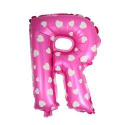 """balony, balony na hel, dekoracje balonowe, balony Łódź, balony z nadrukiem, Balon foliowy Litera """"R"""" - różowa w serduszka"""