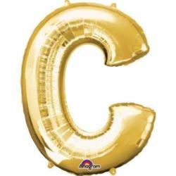 """Balon, foliowy literka mini """"C"""" 22x33 cm, złoty"""