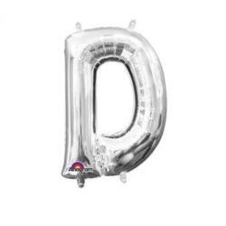 """Balon, foliowy Literka Mini """"D"""" 22x33 cm, srebrna"""