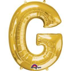 """Balon, foliowy literka mini """"G"""" 22x33 cm, złoty"""
