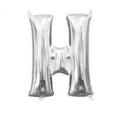 "Balon, foliowy literka mini ""H"" 25x33 cm, Srebrna"