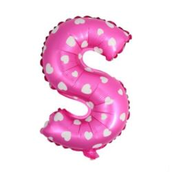 """balony, balony na hel, dekoracje balonowe, balony Łódź, balony z nadrukiem, Balon foliowy Litera """"S"""" - różowa w serduszka"""