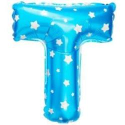 """balony, balony na hel, dekoracje balonowe, balony Łódź, balony z nadrukiem, Balon foliowy Litera """"T"""" - niebieska w gwiazdki"""