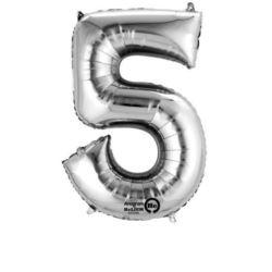 "Balon, foliowy Cyferka Mini ""5"" - srebro"