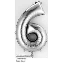 "Balon, foliowy Cyferka Mini ""6"" - srebro"