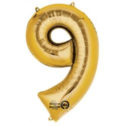 "Balon, foliowy Cyferka Mini ""9""- 20x35 cm"