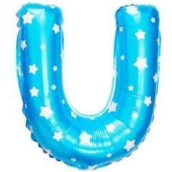 """balony, balony na hel, dekoracje balonowe, balony Łódź, balony z nadrukiem, Balon foliowy Litera """"U"""" - niebieska w gwiazdki"""