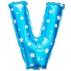 """balony, balony na hel, dekoracje balonowe, balony Łódź, balony z nadrukiem, Balon foliowy Litera """"V"""" - niebieska w gwiazdki"""