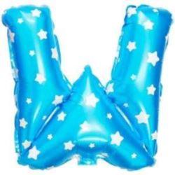"""balony, balony na hel, dekoracje balonowe, balony Łódź, balony z nadrukiem, Balon foliowy Litera """"W"""" - niebieska w gwiazdki"""