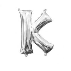 "Balon, foliowy Literka Mini ""K"" 25x33 cm, Srebrna"