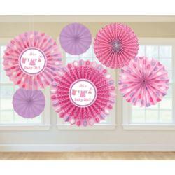 balony, balony na hel, dekoracje balonowe, balony Łódź, balony z nadrukiem, Wiatraki dekoracyjne Baby Shower Dziewczynka 6szt.