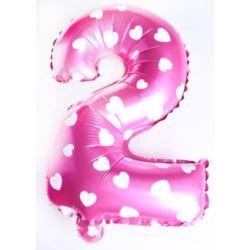 """Balon foliowy cyfra """"2"""" - różowe w serduszka"""