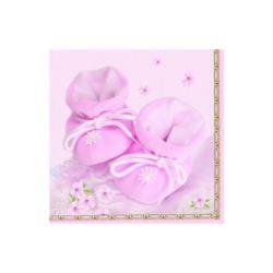 balony, balony na hel, dekoracje balonowe, balony Łódź, balony z nadrukiem, Serwetki Buciki, różowe, 33x33cm, 1 op.