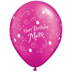 "Balony QL 11"" z nadr.""Happy BDAY Mum!"", mix"