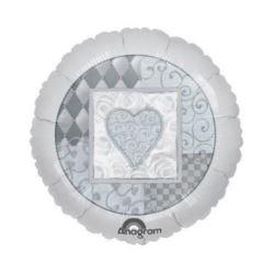 """balony, balony na hel, dekoracje balonowe, balony Łódź, balony z nadrukiem, Balon, foliowy 18"""" CIR - """"Platinum Wedding"""""""