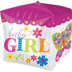 Balon, foliowy kostka Narodziny dziecka - dziewcz