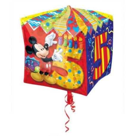 balony, balony na hel, dekoracje balonowe, balony Łódź, balony z nadrukiem Balon, foliowy kostka Myszka Miki 5 urodziny 1 szt