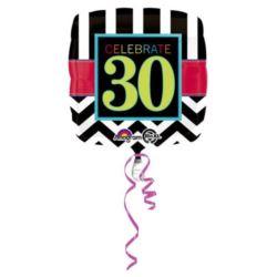 """Balon, foliowy """"30 urodziny"""" 43 cm 1 szt."""