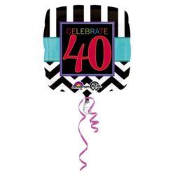 """Balon, foliowy """"40 urodziny"""" 43 cm 1 szt."""