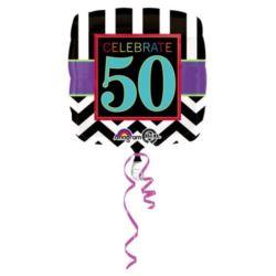 """balony, balony na hel, dekoracje balonowe, balony Łódź, balony z nadrukiem, Balon, foliowy """"50 urodziny"""" 43 cm 1 szt."""