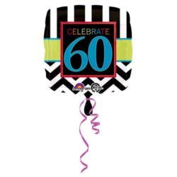"""balony, balony na hel, dekoracje balonowe, balony Łódź, balony z nadrukiem, Balon, foliowy """"60 urodziny"""" 43 cm 1 szt."""