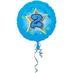 """Balon foliowy urodzinowy """"2"""" - niebieski 43 cm"""