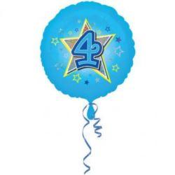 """Balon foliowy urodzinowy """"4"""" - niebieski 43 cm"""