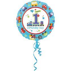 Balon foliowy na 1 urodziny -chłopiec 43 cm
