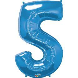 """Balon, foliowy 34"""" QL Number """"5"""" niebieski"""