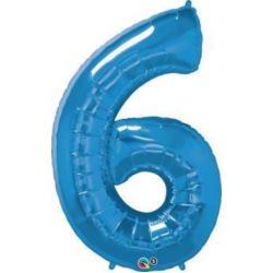 """Balon, foliowy 34"""" QL Number """"6"""", niebieski"""