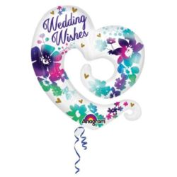 "Balon, foliowy serce ""Wedding Wishes"""