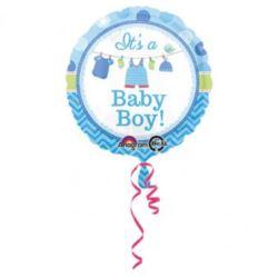 Balon, foliowy Baby Shower- chłopiec 43 cm