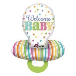 """balony, balony na hel, dekoracje balonowe, balony Łódź, balony z nadrukiem, Balon, foliowy """"Welcome Baby"""" 56x 73 cm - smoczek"""