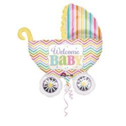 balony, balony na hel, dekoracje balonowe, balony Łódź, balony z nadrukiem, Balon foliowy Welcome Baby - wózeczek 1 szt.