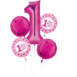 """balony, balony na hel, dekoracje balonowe, balony Łódź, balony z nadrukiem, Bukiet balonów """"1 - Urodziny"""" w op. 5 szt.,"""
