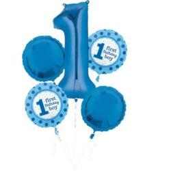 """balony, balony na hel, dekoracje balonowe, balony Łódź, balony z nadrukiem, Bukiet balonów """"1 urodziny"""" - chłopiec, 5 szt."""
