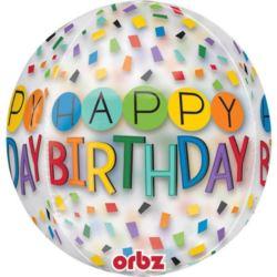 """balony, balony na hel, dekoracje balonowe, balony Łódź, balony z nadrukiem, Balon foliowy Orbz """"Happy Birthday"""" 38x40 cm"""